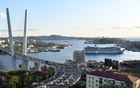 FILE PHOTO: A view shows a bridge over the Golden Horn bay and the Quantum of the Seas cruise ship at a port of Vladivostok, Russia September 18, 2019. REUTERS