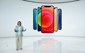 Apple's vice president of iPhone Product Marketing Kaiann Drance unveils the all-new iPhone 12 at a special event at Apple Park in Cupertino, California, US in a still image from video released October 13, 2020. Apple Inc./Handout via REUTERS