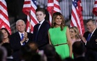 US first lady Melania Trump stands with her son Barron as second lady Karen Pence, Vice President Mike Pence and the first lady's father Viktor Knavs applaud US President Donald Trump at the start of his acceptance speech as the 2020 Republican presidential nominee during the final event of the Republican National Convention on the South Lawn of the White House in Washington, US, August 27, 2020. REUTERS