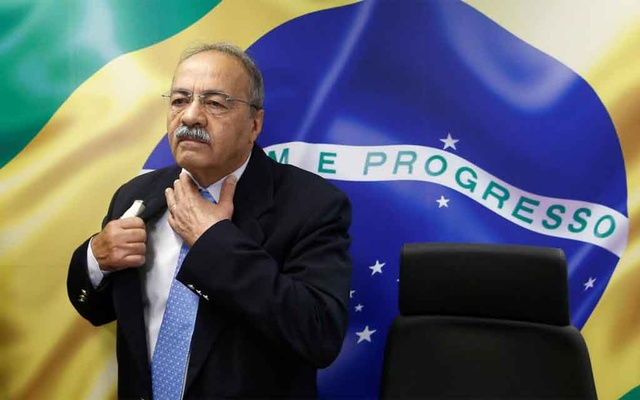 Brazil's Senator Chico Rodrigues reacts during a meeting with Brazilian Federal Deputy Eduardo Bolsonaro (not pictured) at the Federal Senate in Brasilia, Brazil August 9, 2019. Reuters