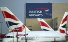 British Airways logos are seen on tail fins at Heathrow Airport in west London, Britain, February 23, 2018. REUTERS