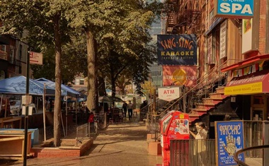 """St Mark's Place in New York's East Village, Oct 6, 2020. Luc Sante, author of """"Low Life,"""" chats about the neighbourhood's history, including CBGB, Warhol's Electric Circus and the Tompkins Square Park riots. Zack DeZon/The New York Times"""