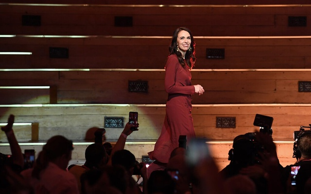 Prime Minister Jacinda Ardern of New Zealand claimed victory in Auckland on Saturday. Hannah Peters/ The New York Times.