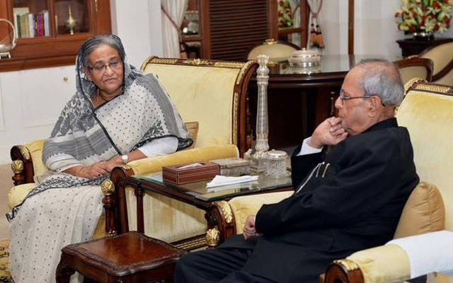 Pranab Mukherjee with Sheikh Hasina. Photo: PTI