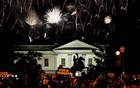 Protesters watch a fireworks display above the White House after President Donald Trump accepted the Republican presidential nomination during the final night of the Republican National Convention, in Washington, on Aug 27, 2020. Erin Schaff/The New York Times