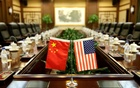 Flags of US and China are placed for a meeting at the Ministry of Agriculture in Beijing. REUTERS