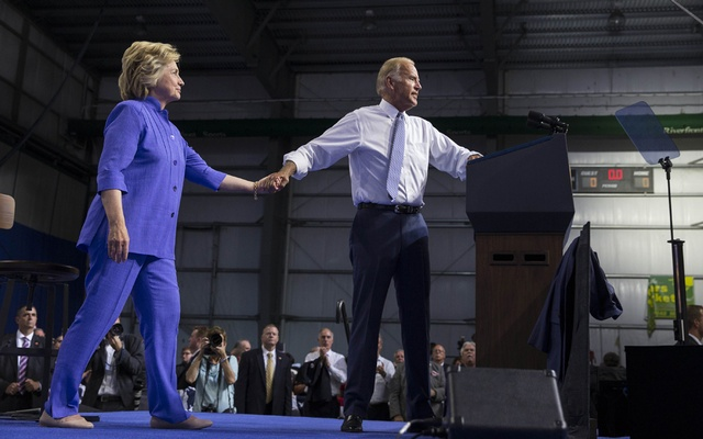 Hillary Clinton, then the Democratic presidential nominee, and Joe Biden at a campaign rally in Scranton, Pa., Aug. 15, 2016. For many Democrats and independents who sat out 2016, voted for third-party candidates or backed Donald Trump, Biden is more acceptable to them in ways large and small than Hillary Clinton was. (Ruth Fremson/The New York Times)