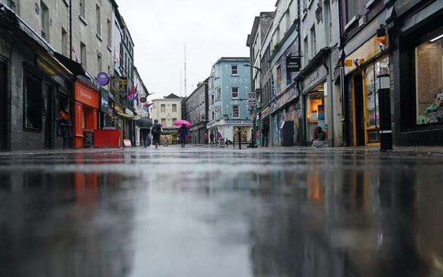 Empty city centre shopping streets are seen as the coronavirus disease (COVID-19) outbreak continues, in Galway, Ireland, October 19, 2020. REUTERS