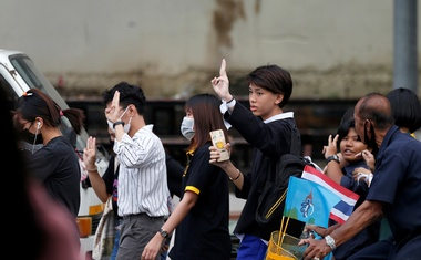 A student shows a three-finger salute in Bangkok, Thailand October 21, 2020. REUTERS