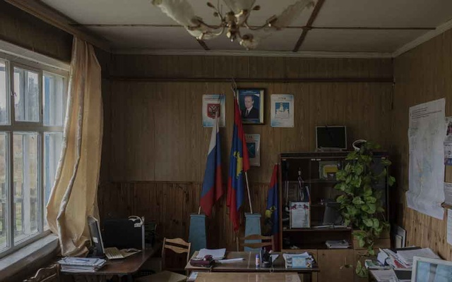 The mayor's office in Povalikhino, Russia, some 300 miles northeast of Moscow, Oct 15, 2020. (Emile Ducke/The New York Times)