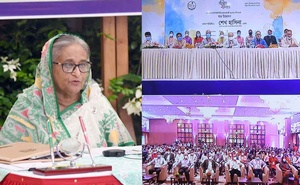 Prime Minister Sheikh Hasina joins the silver jubilee celebrations of Dhaka Reporters Unity via video conference. at Gonobhaban, Oct 25, 2020. Photo: PID