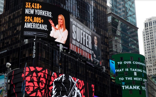 """Billboards featuring Ivanka Trump and Jared Kushner placed by the Lincoln Project in Times Square in New York, Oct 25, 2020. The billboards sparked a prompt reaction from the couple's lawyer, Marc E Kasowitz, who called them """"false, malicious and defamatory"""" and threatened to sue. Dave Sanders/The New York Times"""