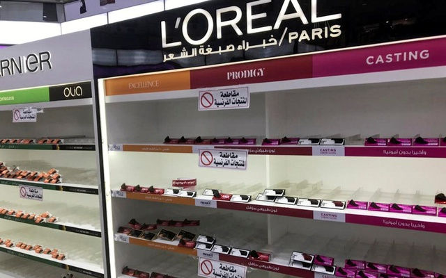 Empty shelves are seen where French products were displayed, after Kuwaiti supermarkets' boycott on French goods, in Kuwait City, Kuwait, October 25, 2020. Reuters