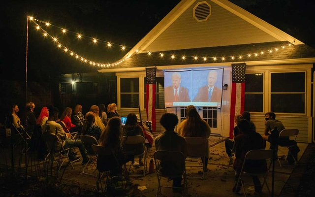 A debate watch party in Haddonfield, N J, on Thursday, Oct 22, 2020. The New York Times
