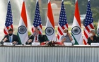 US Secretary of State Mike Pompeo, US Secretary of Defence Mark Esper, India's Foreign Minister Subrahmanyam Jaishankar and India's Defence Minister Rajnath Singh attend a joint news conference after their meeting at Hyderabad House in New Delhi, India, Oct 27, 2020. REUTERS