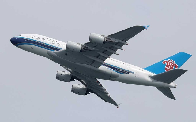 A China Southern Airlines Airbus A380-800 plane takes off from Sydney Airport in Sydney, Australia, Oct 28, 2020. REUTERS