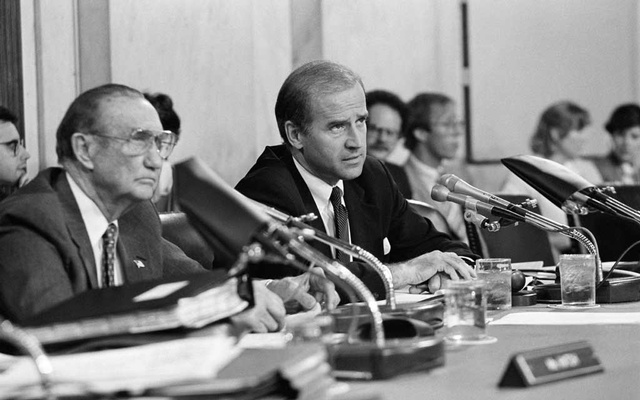 Sen. Joe Biden (D-Del.) listens during hearings for Judge Robert H. Bork during Bork's Supreme Court nomination, in Washington, Sept. 18, 1987. Biden has spent his career devoted to institutions and relationships. And those are the tools he will rely on to govern a fractured nation. (Jose R. Lopez/The New York Times)