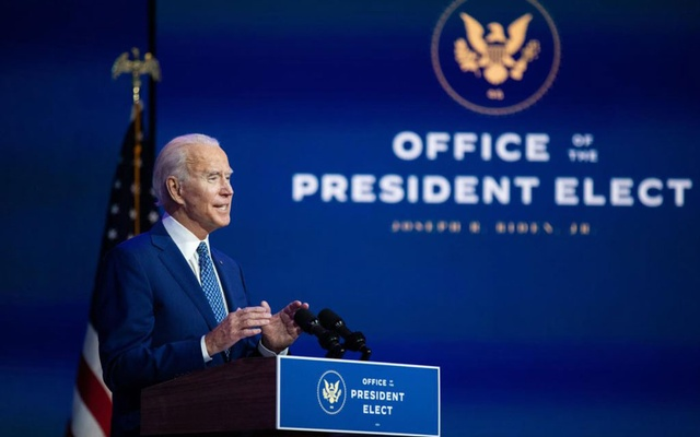 President-elect Joe Biden speaks about the coronavirus at The Queen theatre in Wilmington, Del., on Monday, Nov. 9, 2020. (Amr Alfiky/The New York Times)