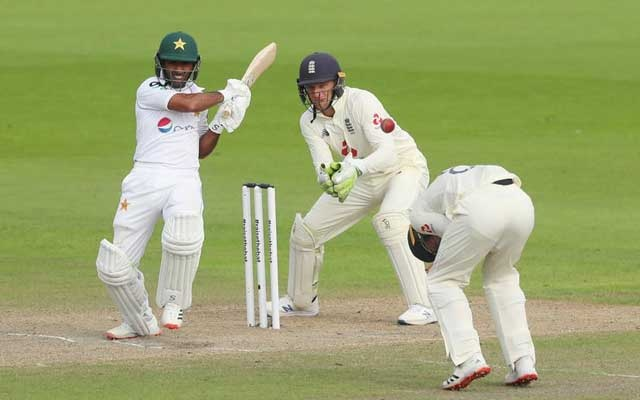 First Test - England v Pakistan - Emirates Old Trafford, Manchester, Britain - August 7, 2020 Pakistan's Asad Shafiq in action, as play resumes behind closed doors following the outbreak of the coronavirus disease (COVID-19) REUTERS