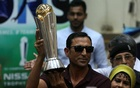 Pakistan's former cricket captain Younis Khan displays the 2017 ICC Champions Trophy during a ceremony at the University of Karachi, Pakistan March 30, 2017. REUTERS