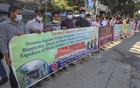 Activists of the Hindu Forum and several other organisations hold a human-chain demonstration in front of the National Press Club in Dhaka on Nov 13, 2020, protesting the persecution of religious minorities in Bangladesh. Photo: Asif Mahmud Ove