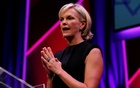 Elisabeth Murdoch, Shine Group chairman and daughter of News Corporation chairman and CEO Rupert Murdoch, gestures during a rehearsal of her MacTaggart Lecture at the Edinburgh International Conference Centre (EICC) during the Edinburgh International Television Festival in Edinburgh, Scotland August 23, 2012. REUTERS