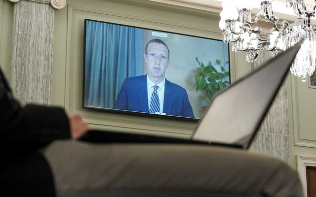 CEO of Facebook Mark Zuckerberg testifies remotely during the Senate Commerce, Science, and Transportation Committee hearing 'Does Section 230's Sweeping Immunity Enable Big Tech Bad Behaviour?', on Capitol Hill in Washington, DC, US, Oct 28, 2020. REUTERS