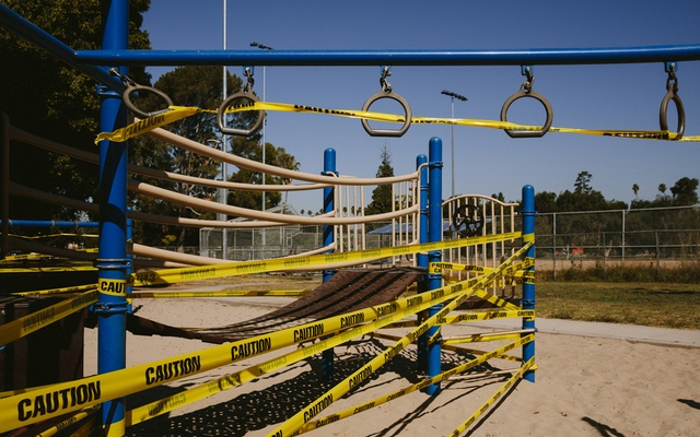 A closed playground at Lincoln Park in Los Angeles, to slow the spread of the coronavirus, on Jul 3, 2020. A new study published Thursday, November 5, in the journal Nature Immunology, suggests that children clear the infection much faster than adults and may help explain why many don't become seriously ill. Kendrick Brinson/The New York Times