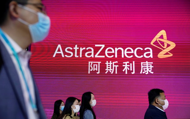 An AstraZeneca sign is seen at the third China International Import Expo (CIIE) in Shanghai, China Nov 6, 2020. REUTERS