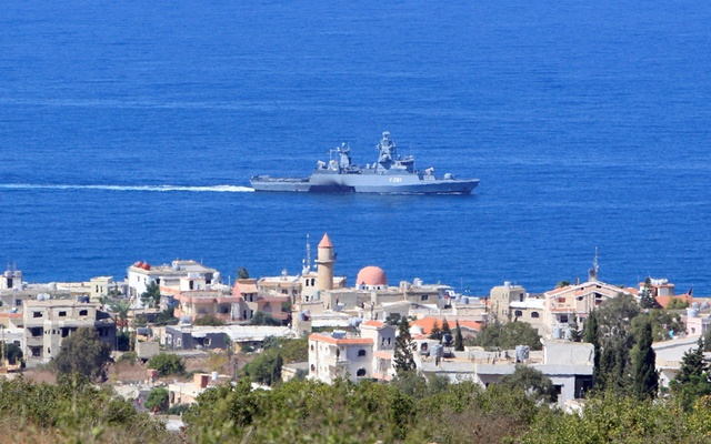 A UN naval ship is pictured off the Lebanese coast in the town of Naqoura, near the Lebanese-Israeli border, southern Lebanon October 14, 2020. REUTERS