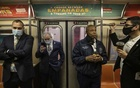 Brooklyn Borough President Eric Adams, centre right, rides the Q train in Manhattan on Oct 14, 2020, to convince people that riding the subway is safe to use in the wake of the coronavirus pandemic. Adams has been viewed as an early favourite for the Democratic nomination for mayor. Victor J Blue/The New York Times
