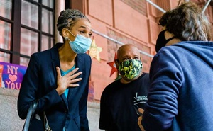 Mayoral candidate Maya WIley, left, speaks to a potential voter in Manhattan on Sept 16, 2020. Wiley is a favourite among some left-leaning Democrats after her work on MSNBC. Gabriela Bhaskar/The New York Times