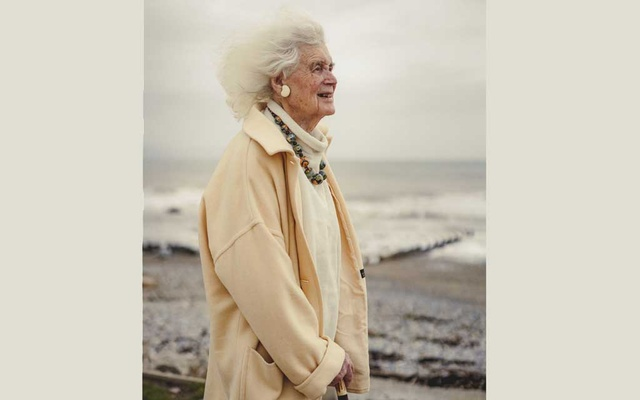 The acclaimed author and historian Jan Morris visits the coast on a windy day in Criccieth, Wales, March 13, 2018