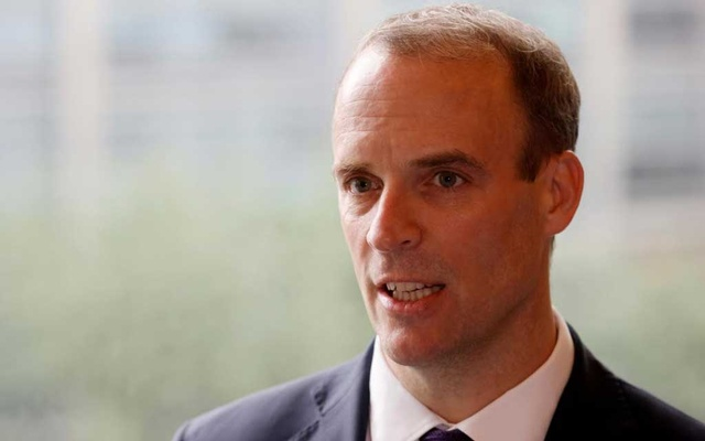 Britain's Foreign Secretary Dominic Raab speaks during an interview with Reuters in Seoul, South Korea, September 29, 2020. REUTERS