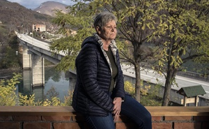 Bakira Hasecic, founder of the Association of Women War Victims, in the village of Mededa, near Visegrad, Bosnia and Herzegovina, on Nov 4, 2020. She is pushing for a plaque at the spa hotel Vilina Vlas to acknowledge past crimes. Laura Boushnak/The New York Times