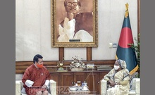 Rinchen Kuentsyl, the newly appointed ambassador of Bhutan to Bangladesh, paid a courtesy call on Prime Minister Sheikh Hasina at the Ganobhaban in Dhaka on Thursday, Nov 26, 2020. Photo: PID