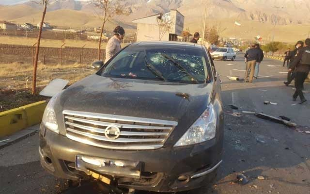 A view shows the scene of the attack that killed Prominent Iranian scientist Mohsen Fakhrizadeh, outside Tehran, Iran, November 27, 2020. WANA (West Asia News Agency) via REUTERS