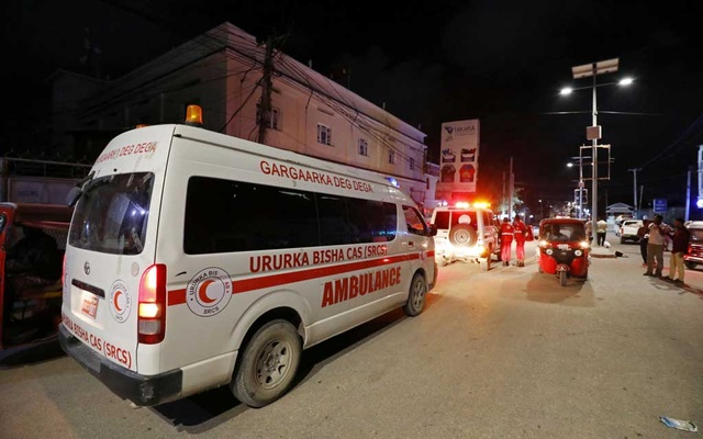 An ambulance is seen at the site of a blast at an ice-cream parlour in Mogadishu, Somalia, Nov 27, 2020. REUTERS