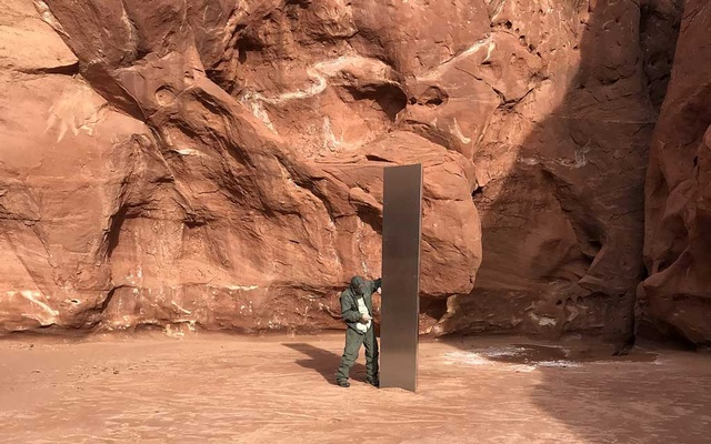An image provided by the Utah Department of Public Safety, a monolith discovered by wildlife officials in southeastern Utah, Nov 18, 2020. Some think the it might be the work of John McCracken, a minimalist sculptor with an affinity for science fiction who died in 2011. The New York Times