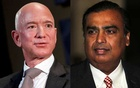 Jeff Bezos, president and CEO of Amazon, and Mukesh Ambani, Chairman and Managing Director of Reliance Industries, are seen in this combination photo in Washington, US, September 13, 2018 and in Mumbai, India, July 5, 2018. Reuters