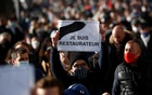 Restaurants, cafes, bars and night clubs owners attend a demonstration to protest against government closure measures during the coronavirus disease (COVID-19) outbreak in Nantes, France, Nov 30, 2020. The slogan reads