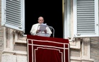 Pope Francis leads Angelus prayer from his window at the Vatican, November 29, 2020. Reuters