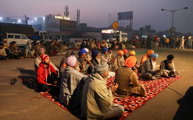 Farmers are seen at a site of a protest against the newly passed farm bills, at Singhu border near Delhi, India Dec 2, 2020. REUTERS