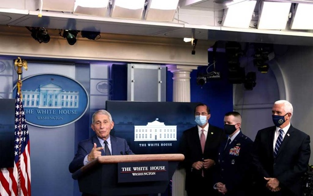 Dr. Anthony Fauci, director of the National Institute of Allergy and Infectious Diseases, addresses a news conference at the White House in Washington on Thursday, Nov. 19, 2020, with members of the coronavirus task force and Vice President Mike Pence. (Stefani Reynolds/The New York Times)