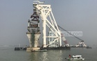 The 40th span of the Padma Bridge has been installed on piers 11 and 12 at the Mawa end of the structure, Dec 4, 2020. Photo: Mostafigur Rahman