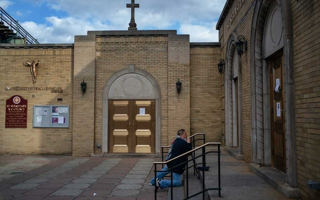 Along with other houses of worship, St. Sebastian Roman Catholic Church in Woodside closed in March.