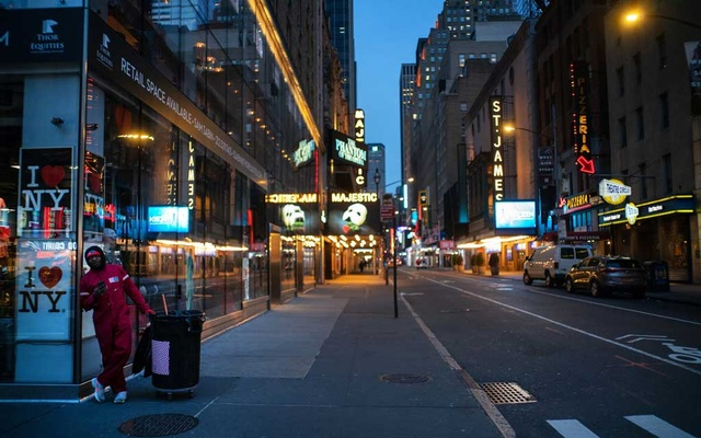 Times Square, normally full of bustling humanity, fell empty as people began to stay home.