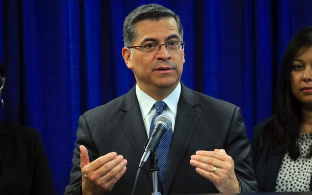 Xavier Becerra, California's attorney general, at a news conference in San Francisco, Feb. 26, 2019.