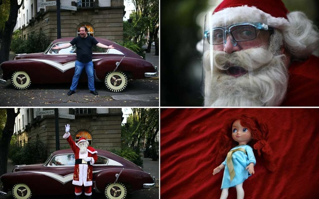 A combination picture shows Alejandro Zelayaran, 43, posing for photographs in his everyday clothing, dressed as Santa Claus, and a doll donated to him before giving it to a child at an orphanage, in Mexico City, Mexico, December 3, 2020. REUTERS