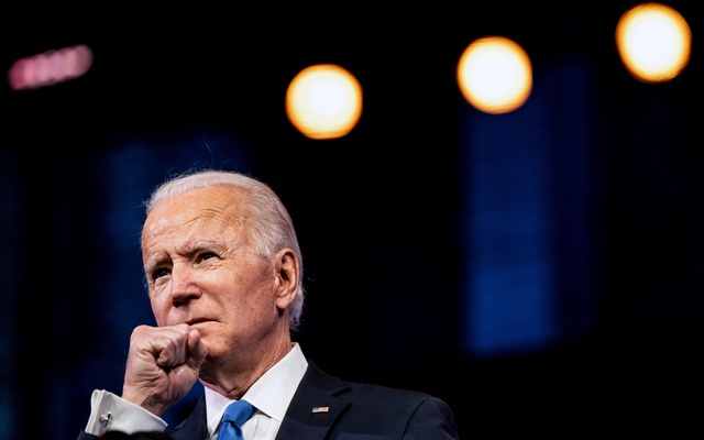 President-elect Joe Biden speaks in Wilmington, Del, on Monday, Dec 14, 2020. Biden's inauguration will be mostly virtual, with in person events scaled back due to the coronavirus pandemic. Erin Schaff/The New York Times